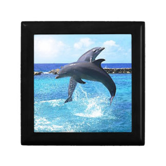 Dolphins playing in the ocean jewelry box