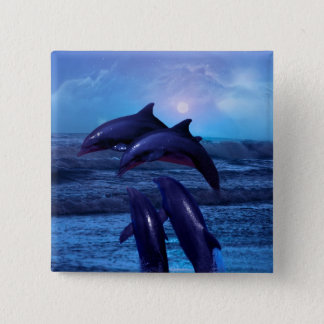 Dolphins playing in the ocean pinback button