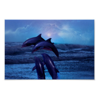 Dolphins playing in the ocean print