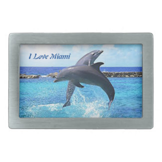 Dolphins playing in the ocean rectangular belt buckle