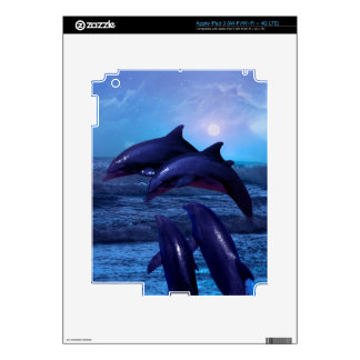 Dolphins playing in the ocean skin decals for iPad 3