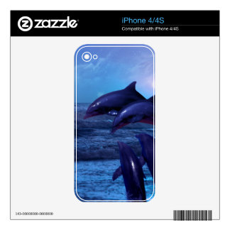 Dolphins playing in the ocean skin skins for the iPhone 4
