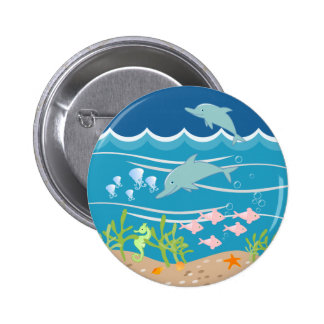 Dolphins playing in the wild sea buttons