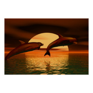 dolphins playing into the sunset, brown orange print