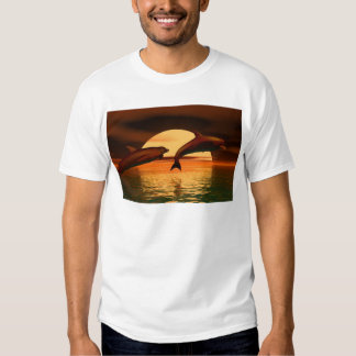 dolphins playing into the sunset t shirt
