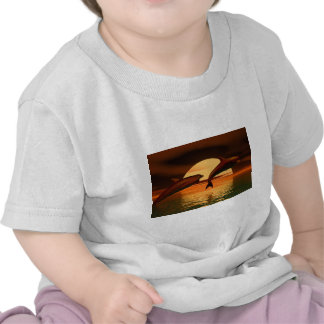 dolphins playing into the sunset tee shirt
