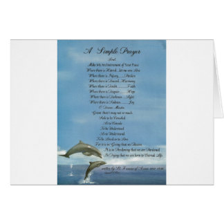 dolphins=pope francis=st. francis SIMPLE PRAYER Card