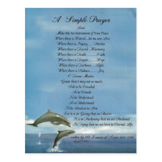 dolphins=pope francis=st. francis SIMPLE PRAYER Postcard