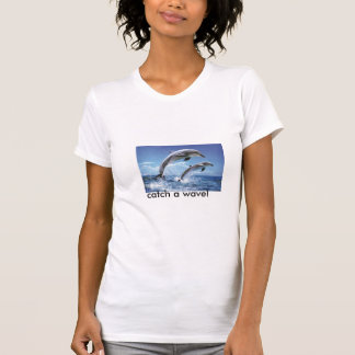 Dolphins-poster-l, catch a wave! tee shirt