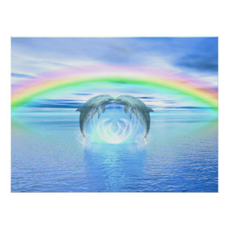 Dolphins Rainbow Healing Poster