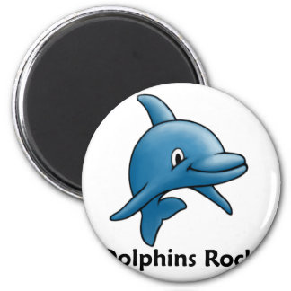 Dolphins Rock! 2 Inch Round Magnet