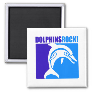 Dolphins Rock! 2 Inch Square Magnet
