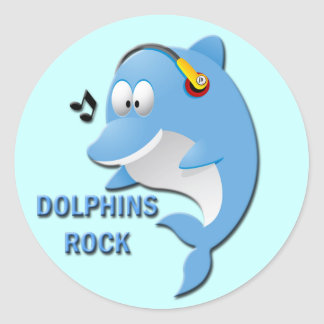 DOLPHINS ROCK ROUND STICKERS