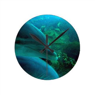 Dolphins Round Clock