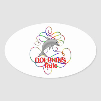 Dolphins Rule Oval Sticker