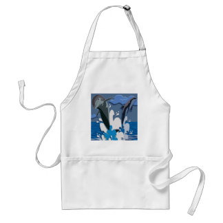 Dolphins Sea jump Swimming Funny Photo Colorful Adult Apron