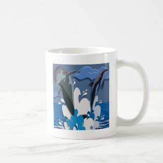 Dolphins Sea jump Swimming Funny Photo Colorful Coffee Mug