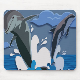 Dolphins Sea jump Swimming Funny Photo Colorful Mouse Pad