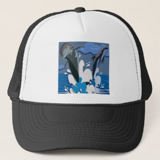 Dolphins Sea jump Swimming Funny Photo Colorful Trucker Hat