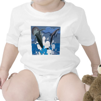 Dolphins Sea jump Swimming Funny Photo Colorful Baby Bodysuit