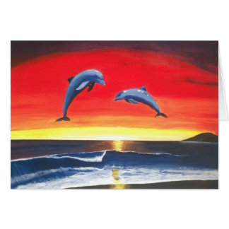 Dolphins Seascape Tropical Sunset Note Card Art