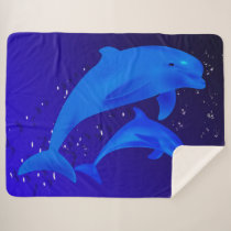 Dolphins Sherpa Blanket