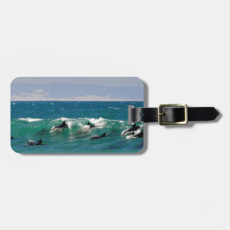 Dolphins surfing a wave bag tag