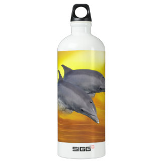 Dolphins surfing the waves aluminum water bottle