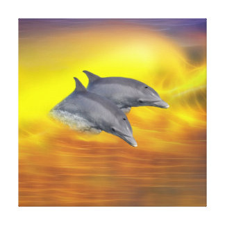 Dolphins surfing the waves canvas print