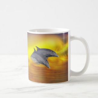 Dolphins surfing the waves coffee mug