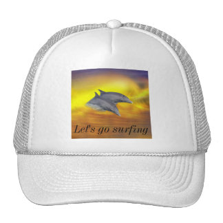 Dolphins surfing the waves mesh hat