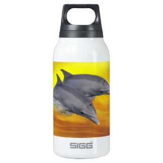 Dolphins surfing the waves insulated water bottle