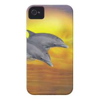 Dolphins surfing the waves iPhone 4 Case-Mate case