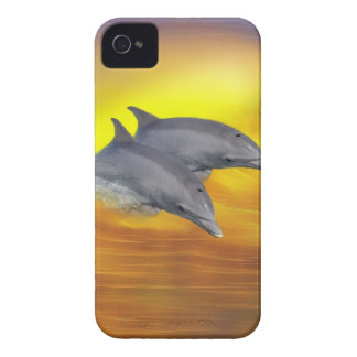 Dolphins surfing the waves iPhone 4 cover