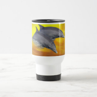 Dolphins surfing the waves 15 oz stainless steel travel mug