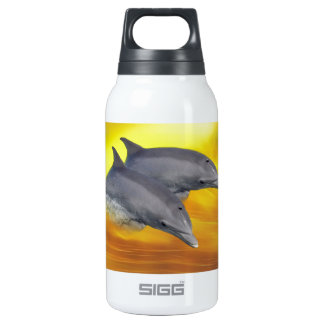 Dolphins surfing the waves thermos water bottle