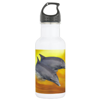 Dolphins surfing the waves water bottle