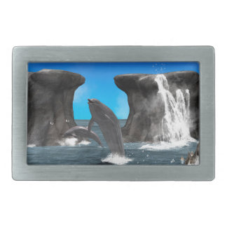 Dolphins swim and jumping in the sea rectangular belt buckle