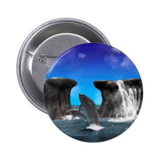 Dolphins swim and jumping in the sea pinback buttons
