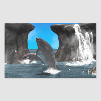 Dolphins swim and jumping in the sea rectangular sticker