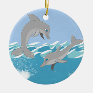 Dolphins Swimming in the Ocean Ceramic Ornament