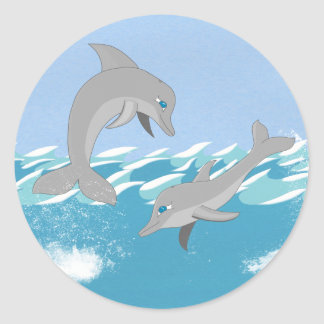 Dolphins Swimming in the Ocean Classic Round Sticker
