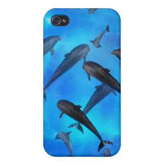 Dolphins swimming in the ocean cover for iPhone 4