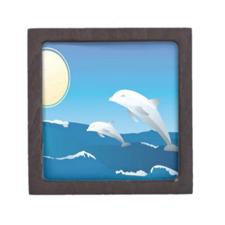 Dolphins swimming in the ocean design gift box