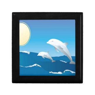 Dolphins swimming in the ocean design keepsake box