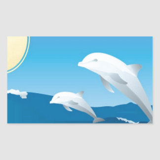 Dolphins swimming in the ocean design rectangular sticker