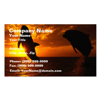 Dolphins Symphony at Sunset Double-Sided Standard Business Cards (Pack Of 100)
