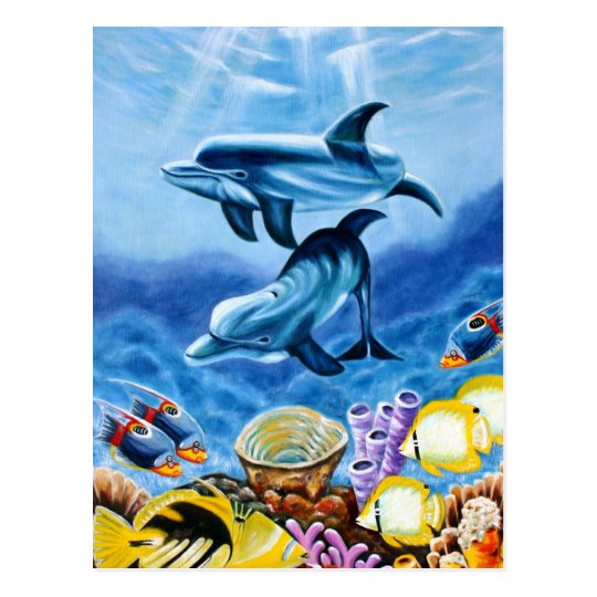 Dolphins Tropical Fish Postcard
