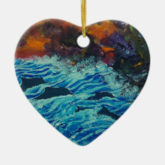 Dolphins under storm clouds ceramic ornament