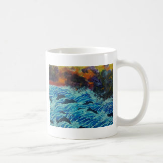 Dolphins under storm clouds coffee mug